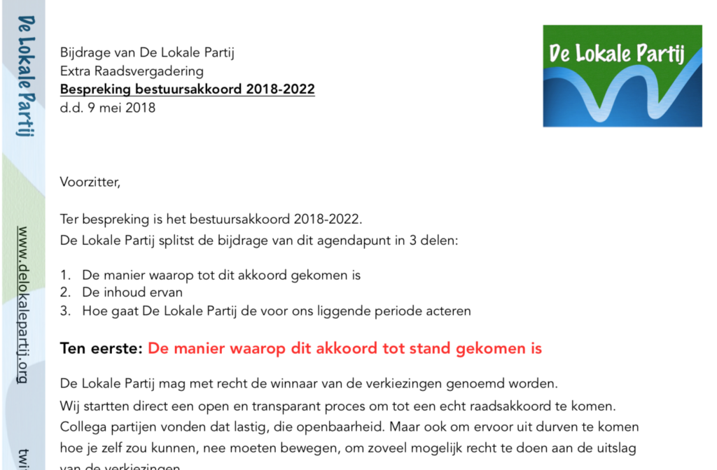 wat vindt De Lokale Partij van het bestuursakkoord